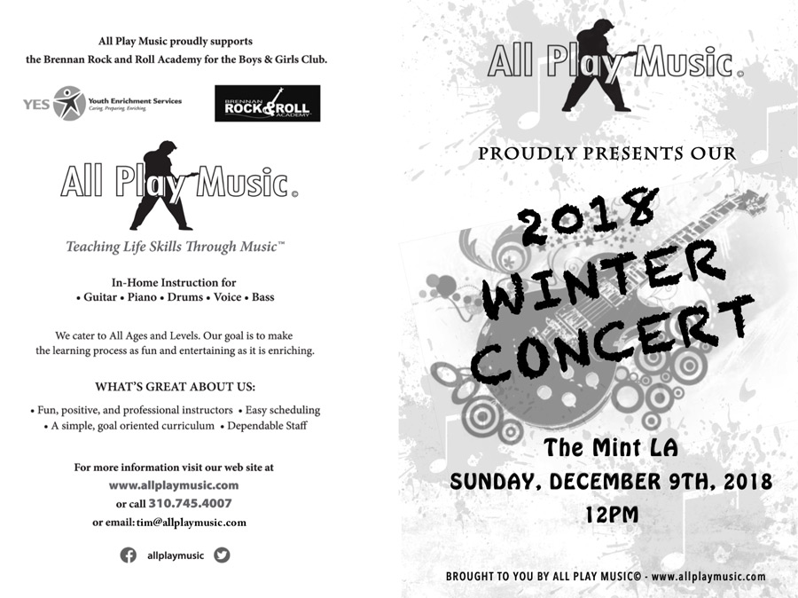 All Play Music Winter Concert Program - Front